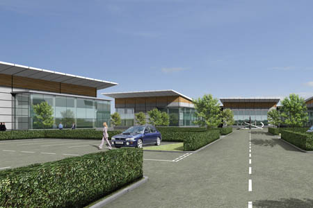 Artist's impression of offices at Lomondgate Business Park, image supplied by CGI Media