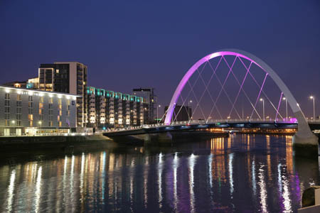 The Clyde Arc is lit up at night