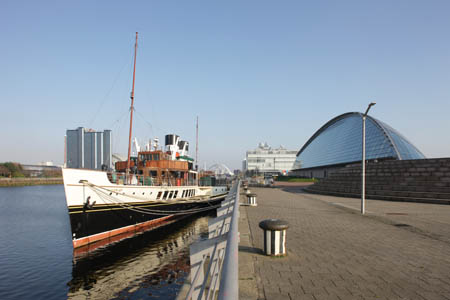 The Waverley paddle steamer docks at the Glasgow Science Centre