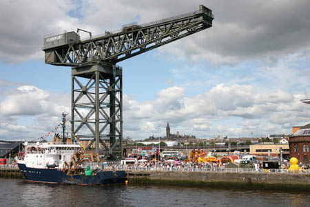 Festival goers at the Finnieston Crane