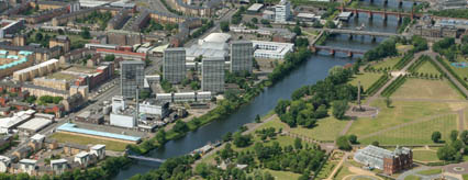 Aerial view of the New Gorbals riverside area