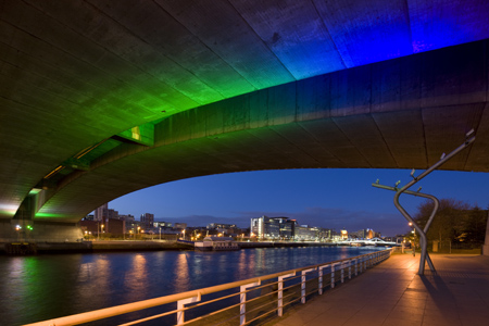 'Chroma Streams: Tide and Traffic' by lighting artist Leni Schwendinger in collaboration with Ian Alexander