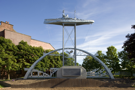 Sculpture of HMS Ramillies by artist Tom McKendrick sited on the corner of Dumbarton Road and Beardmore Street in Dalmuir