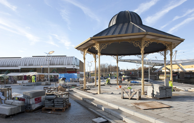 The refurbished and relocated bandstand in situ